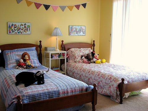 chik austin colorful boy girl shared bedroom vintage pottery barn 1