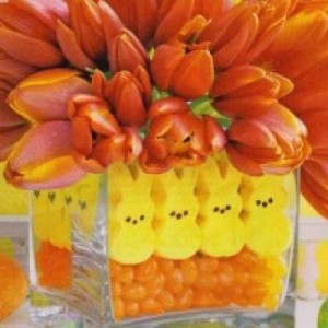 Easter - Easter decor - holiday decorating - decor - easter bunny - easter egg - easter candy - peeps centerpiece via pinterest