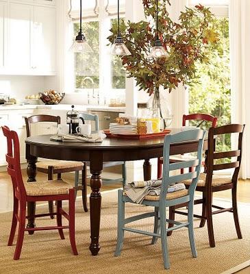sala jantar cadeiras colridas