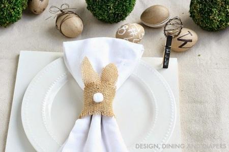 decoração de guardanapos de páscoa coelhinho de juta