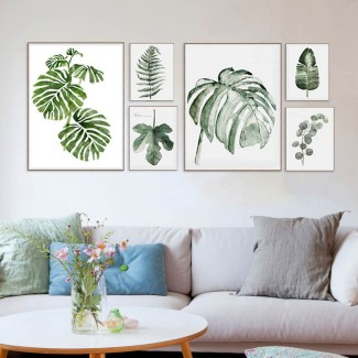 Artwork-Craft-Watercolor-Green-Leaf-Natural-Tropical-Plants-Cottage-Canvas-Print-wall-Posters-Nordic-Wall-Picture